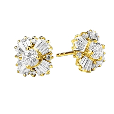 Magnificent star bright Earrings with Round and Baguette Diamond Essence Masterpieces, 1.25 Cts. T.W.in 14K Solid Gold.