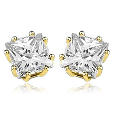 Princess cut square stone stud earrings in gold