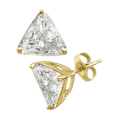 Trilliant cut Diamond earring in Solid Gold