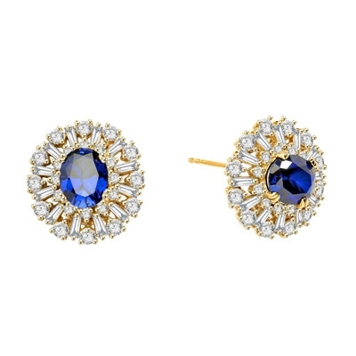 Diamond Essence Designer Earrings with 2.5 carat Oval Sapphire Essence in the center, surrounded by Diamond Essence round stones and baguettes. Appx. 9.0 cts.t.w. Just perfect for all occasions. In 14k Solid Yellow Gold.