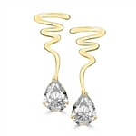 6ct pear cut drops spiral earrings in Solid Gold