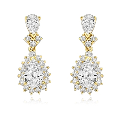 7ct white essence earrings in 14K Solid yellow Gold