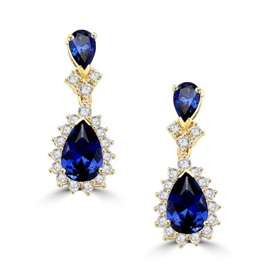 Sapphire 7ct essence & 2ct accents gold earrings