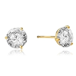 Pair of Studs in three prongs Martini Setting, Round Diamond Essence in each stud. 2.0 Cts T.W. set in 14K Solid Yellow Gold.