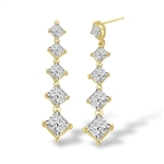 5 princess cut square Stone gold drop earring