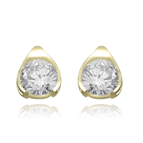 Round stone solid yellow gold stud earrings