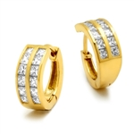 14K Yellow Gold Huggies With Two Row Of Channel Set Princess Cut Diamond Essence Stone, 1.40 Cts.T.W.