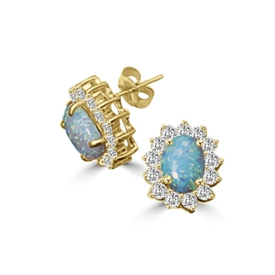 1.2ct opal stone earrings in Solid Gold