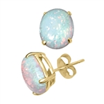 Diamond Essence opal studs. 3.0 Cts. each, set in 14K Solid Yellow Gold. 6.0 Cts. T.W.