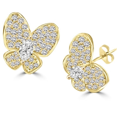 Yellow gold butterfly earring with marquise cut