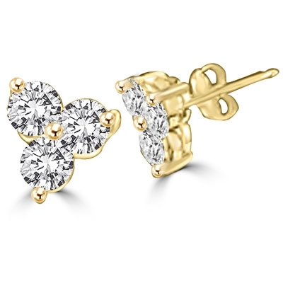 Diamond Essence three round brilliant stones, set in floral setting of 14K Solid Gold, 0.50 ct. each, 3.0 ct.t.w.
