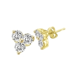 Solid Gold earring with floral setting in 3 round stones