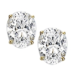 Solid gold stud earing with oval cut stone