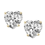 Diamond Essence Heart Studs, 0.5 ct. each, set in 14K Solid Gold. 1.0 ct.t.w. (Also available in 14K Gold Vermeil, Item#VED560). Choice of 2.0 ct.t.w. and 4.0 ct.t.w. available.