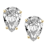 1.0 ct solid Gold pear studs earrings