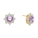 Floral Earrings with 3.5 Cts. Round Lavender Essence in center surrounded by Princess cut Diamond Essence and Melee. 6.5 Cts. T.W. set in 14K Solid Yellow Gold.