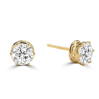 Diamond Essence Basket set Stud Earrings with Round Brilliant Stones - GEDKE369