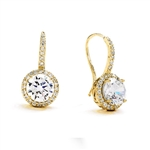 Diamond Essence Drop Earrings With Wire, 2 Cts. Each Round Brilliant Stone With Melee Around And On Bail, 5 Cts.T.W. In 14K Solid Yellow Gold.