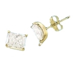 Radiant Emerald cut Diamond Essence studs cradled in 14K Solid Yellow Gold, 3.0 cts. t.w.