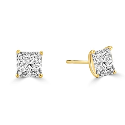 Princess cut Diamond Essence studs cradled in 14K Solid Gold, 3.0 cts. t.w.