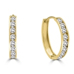 Diamond Essence 14K Solid Yellow Gold huggies with Delicate Tension Set Round Brilliant Stones, 2.0 Cts. T.W.