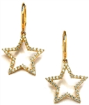 Diamond Essence 14K Solid Yellow Gold Star Dangle Earrings with Round Brilliant Melee, 1.0 Ct.T.W.