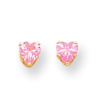 Pink heart-cut diamond earring in Solid Gold