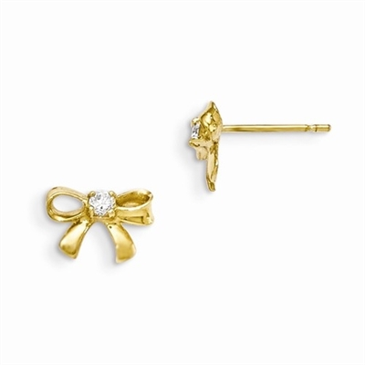 Bow Earrings with Round Brilliant Diamond Essence, 0.12 Cts. T.W. set in 14k Solid Yellow Gold, Perfect gift for little Princesses.