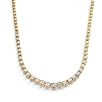 "16"" necklace of graduated round stones in gold"