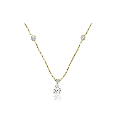 3ct pear cut diamond with bezel-set in yellow gold