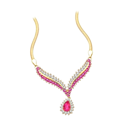Diamond Essence Necklace with Pear cut Ruby, Round cut Ruby and Brilliant Stones, 4.50 cts.t.w. - GND1635R