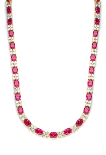 Diamond Essence Designer Necklace with 1.25 Cts. Oval cut Ruby Essence and Round Brilliant Diamond Essence Stones. Appx. 72.0 Cts. T.W. set in 14K Solid Yellow Gold.