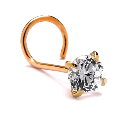 Diamond Essence 14K Solid Yellow Gold Nose Ring with 0.10 Ct.T.W. Round Brilliant Set In Delicate Four Prong Setting.