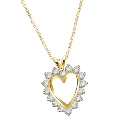Heart pendant, Diamond Essence round brilliant stones, 3.0 cts.t.w. set in 14K Solid Yellow Gold.