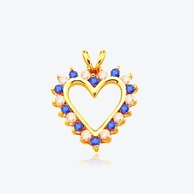 Sapphire Essence Heart Pendant - 0.5 Cts. T.W. set in 14K Solid Yellow Gold.