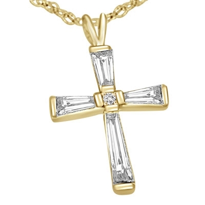"14K Solid Gold cross with baguettes, 0.75 ct.tw. 3/4"" long."