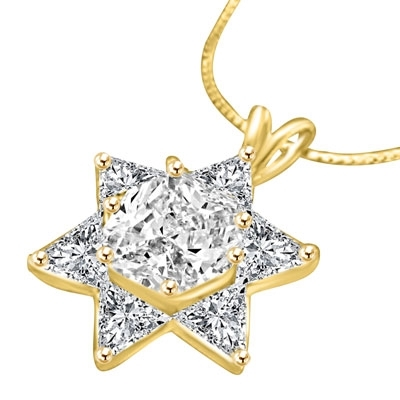 Trilliant cut stones in solid gold star pendant