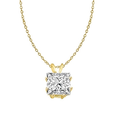 2ct princess-cut pendant in Solid Gold