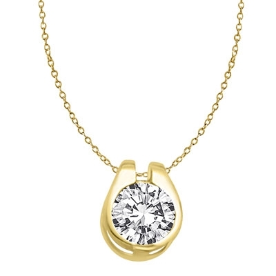 Diamond Essence 2.0 Cts. Round Brilliant Stone set in shell-like bezel setting of 14K Solid Gold, makes a delicate Slide Pendant.