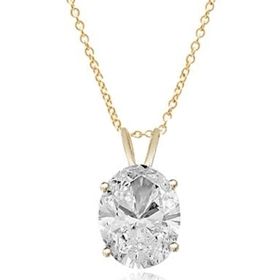 Solitaire Pendant with Oval Cut Diamond Essence in 14K Solid Gold. Choice of 1, 2 and 3 carat available.