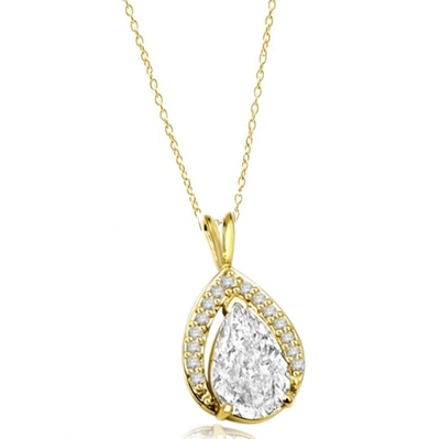 Deep Love - Amazingly designed Pendant with 3.5 Ct. Pear Cut Center and Melees, 4.0 Cts. T.W. in 14K Solid Gold