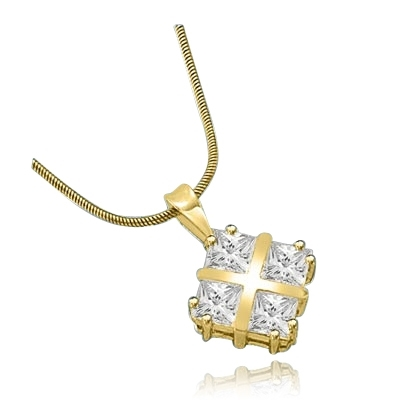 4 Princess Cut Masterpieces pendant  in Yellow Gold
