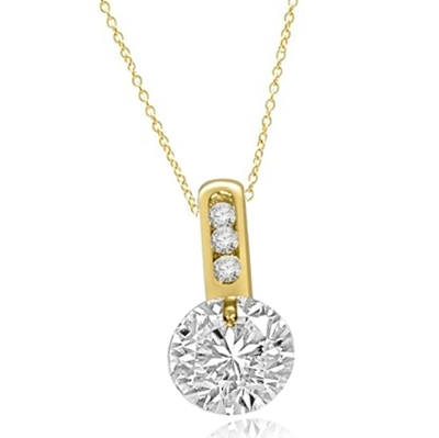 Magnificent pendant with 2.0 cts. tension set in 14K Solid Yellow Gold