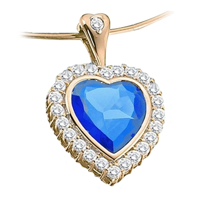 Gold pendant of blue sapphire & round stones