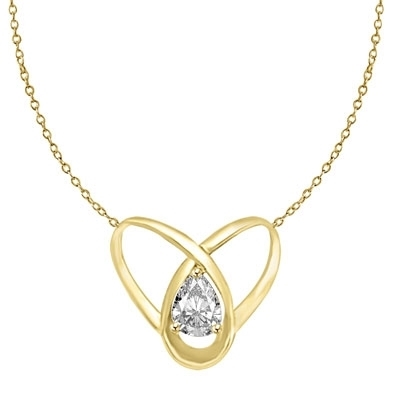 2 ct pear cut stone set in orbit in gold pendant