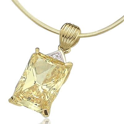 18ct canary stone pendant in 14k solid gold
