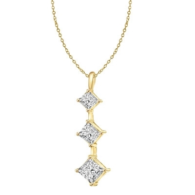Solid Gold graduating princess cut stones pendant