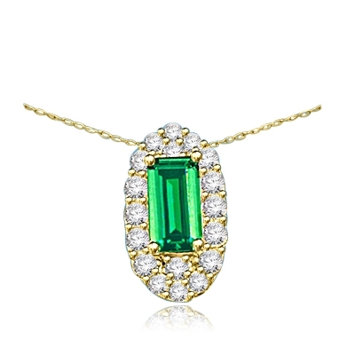 Emerald City Pendant with a 3.0 Cts. Emerald Cut Emerald Essence center surrounded by fiery Round Cut Diamond Essence Stones, 3.30 Cts. T.W. in 14K Solid Gold.