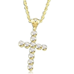 "Show your spirit with a heavy, solid cross pendant made with Round Diamond Essence stones 1.5 Cts. each Delightfully Dazzling 2-1/4""H and 1-3/4""W. In 14k Solid Yellow Gold. Chain Not Included."