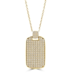 "Designed to Impress, this solid tablet pendant is perfect for your he-man! One side completely covered with Diamond Essence Accents, 2"" H and 1-1/4""W. In 14k Solid Yellow Gold. Chain Not Included."